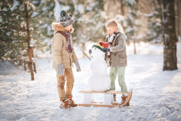 Children spend time in the snow learning to respect nature and love the environment