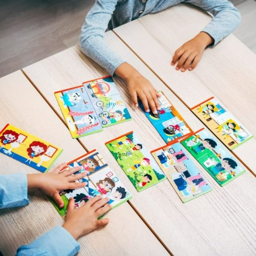 Kids playing puzzles to learn how to save the planet